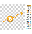 bitcoin up trend icon with bonus vector image vector image