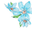 Blue flowers background watercolor corner ornament vector image vector image