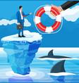 businessman floats on iceberg getting lifebuoy