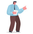 cartoon male character office worker points vector image vector image