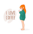 cartoon red-haired girl in a sweater vector image vector image