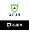 castle eye and shield monitoring logo icon vector image
