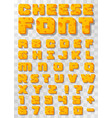 cheese font letters and numbers vector image