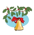 Christmas bell on berry branch vector image vector image