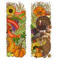 colourful Thanksgiving vertical ornaments isolated vector image