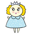 Cute a princess in a bablue dress on white