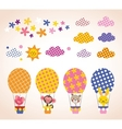cute animals in hot air balloons set vector image vector image
