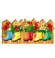 cute decor on wooden fence form flower pots in vector image vector image