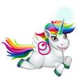 cute unicorn pony with mane colors rainbow vector image vector image