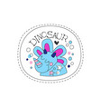 dinosaur childish patch badge cute funny cartoon vector image