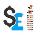 dollar and pound icon with valentine bonus vector image