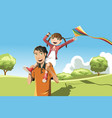 father daughter playing kite vector image