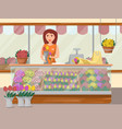 flower shop banner with young woman vector image vector image