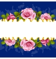 frame whit pink roses vector image vector image