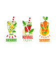 fresh fruit and vegetable juice in glass with vector image vector image