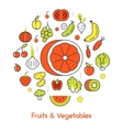 Fruits and Vegetables Thin Line Icons vector image