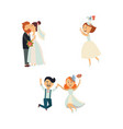 funny wedding couple kissing and jumping vector image vector image