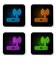glowing neon router and wi-fi signal symbol icon vector image vector image