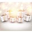 Golden winter background with christmas gifts vector image vector image