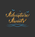 hand drawn lettering adventure awaits elegant vector image vector image