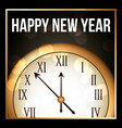 happy new year 2018 gold clock with glowing frame vector image vector image