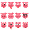 heads of cool funny pig emoticon characters happy vector image vector image