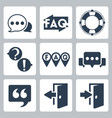 isolated faqinfo icons set vector image