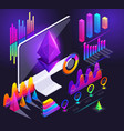 isometric holographic diagrams graphs vector image vector image
