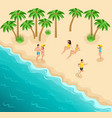 isometric sea beach resting girls sunbathe athlete vector image