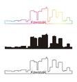 Kawasaki skyline linear style with rainbow vector image vector image