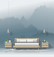 modern bedroom with mountain landscape wallpaper vector image vector image