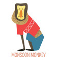 monsoon monkey cartoon asian animal vector image