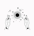 mystical woman hands alchemy esoteric magic sun vector image vector image