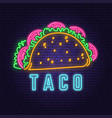 neon mexican taco retro badge design design for vector image vector image