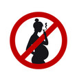 no smoking sign during pregnancy black female vector image vector image