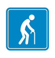 old man with a cane detailed blue icon for public vector image vector image