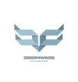origami wings - logo template concept vector image