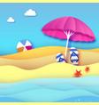 pink parasol - umbrella in paper cut style vector image
