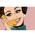 pop art cute retro woman in comics style talking vector image vector image