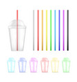 set colorful plastic empty disposable cup and vector image vector image