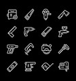 set line icons of electric and hand tool vector image vector image