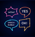 set neon speech bubbles and blank template for vector image vector image