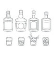 set whiskey bottles and glasses with a drink vector image