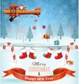 Silhouett Santa Claus sleigh with reindeer fly vector image vector image