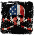 skull t shirt graphic design with flag vector image vector image