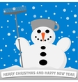 snowman with a broom and a pot on his head vector image vector image