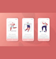 sport gym character mobile app page onboard screen vector image vector image