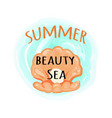 summer sea beauty poster with open seashell vector image vector image