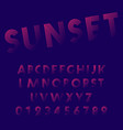sunset alphabet font template set letters and vector image
