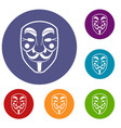 vendetta mask icons set vector image vector image
